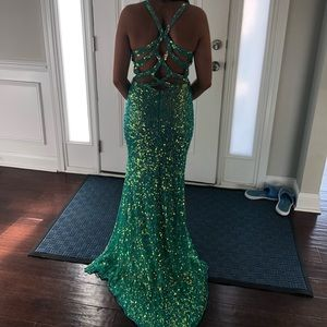 Turquoise sequined prom dress
